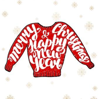 Vrolijk kerstfeest en een gelukkig nieuwjaar in een rode trui