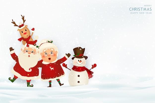 Vrolijk kerstfeest en een gelukkig nieuwjaar kerstman met mevrouw claus rendieren Premium Vector