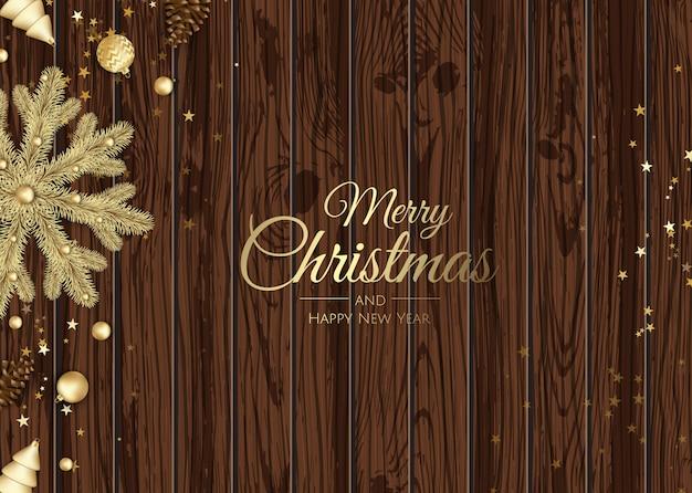 Vrolijk kerstfeest en een gelukkig nieuwjaar. kerstmisachtergrond met giftdoos, sneeuwvlokken en ballenontwerp.