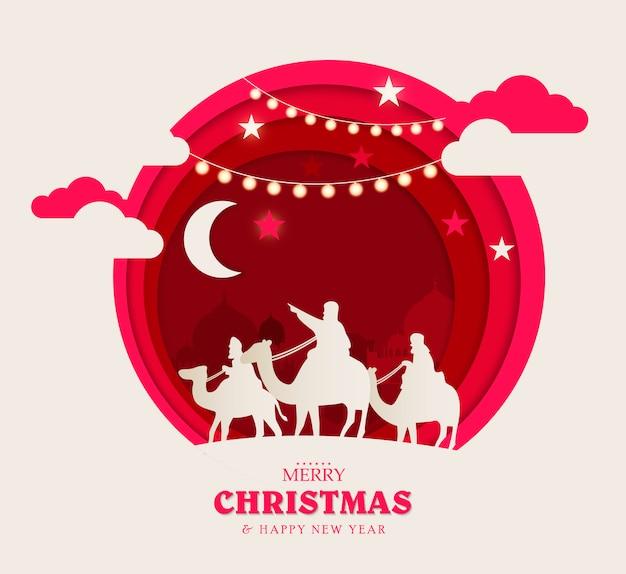 Vrolijk kerstfeest en een gelukkig nieuwjaar. kerstsamenstelling in papierkunst en digitale ambachtelijke stijl.