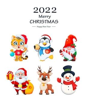 Vrolijk kerstfeest en een gelukkig nieuwjaar. leuke stripfiguren voor vakantie. kleine tijger, pinguïn, kabouter, kerstman, hert en sneeuwpop. voorraad vectorillustratie