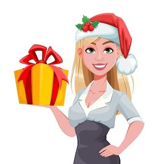 Vrolijk kerstfeest en een gelukkig nieuwjaar. leuke zakenvrouw