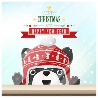 Vrolijk kerstfeest en een gelukkig nieuwjaar met hond