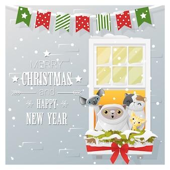 Vrolijk kerstfeest en een gelukkig nieuwjaar met katten