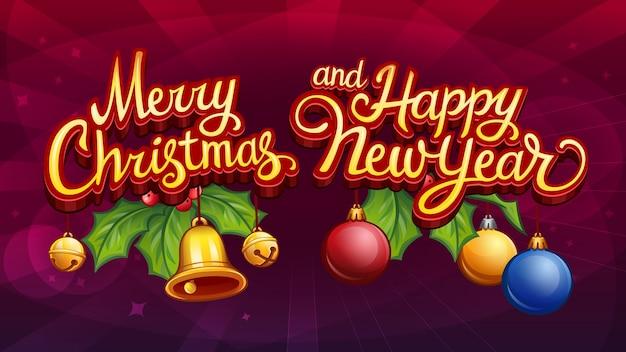 Vrolijk kerstfeest en een gelukkig nieuwjaar met maretak en klokken