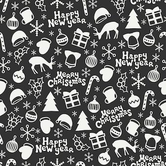 Vrolijk kerstfeest en een gelukkig nieuwjaar. naadloos patroon. winter vakantie achtergronden.