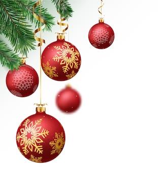 Vrolijk kerstfeest en een gelukkig nieuwjaar ontwerp met ballen en confetti