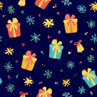 Vrolijk kerstfeest en een gelukkig nieuwjaar. vakantie naadloze patroon met geschenkdozen, sneeuwvlokken, sterren