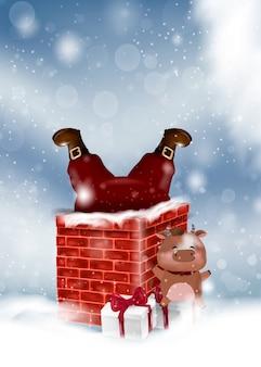Vrolijk kerstfeest en een gelukkig nieuwjaar. vrolijke kerstmisillustratie die van de kerstman door de schoorsteen van het huis binnenkomt.