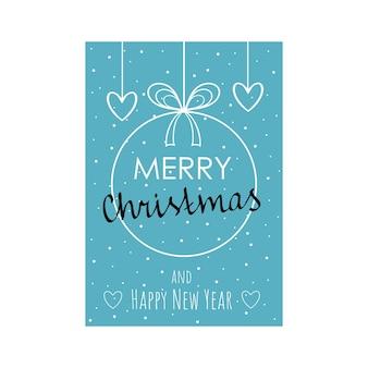 Vrolijk kerstfeest en een gelukkig nieuwjaar. wenskaart met de afbeelding van een kerstbal, hart, decoratie voor 2021. vectorposter in a4-formaat.