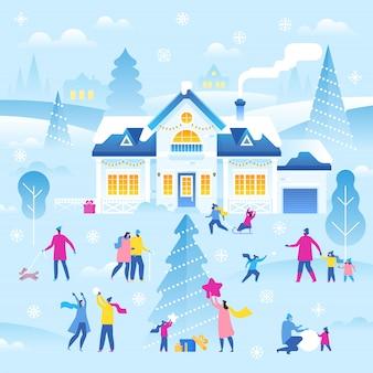 Vrolijk kerstfeest en een gelukkig nieuwjaar. winter landschap