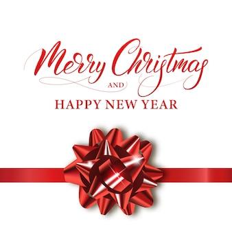Vrolijk kerstfeest en een gelukkig nieuwjaar. wintervakantie banner met glanzende rode strik en kalligrafie