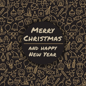 Vrolijk kerstfeest en een gelukkig nieuwjaar. wintervakantie wenskaart. vrolijke kersttypografie en kalligrafie. kerstmis iconen.