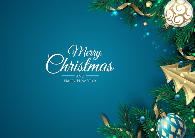 Vrolijk kerstfeest en een gelukkig nieuwjaar. xmas achtergrond met kerstboom, sneeuwvlokken, ster en ballen. wenskaart, vakantiebanner, webposter