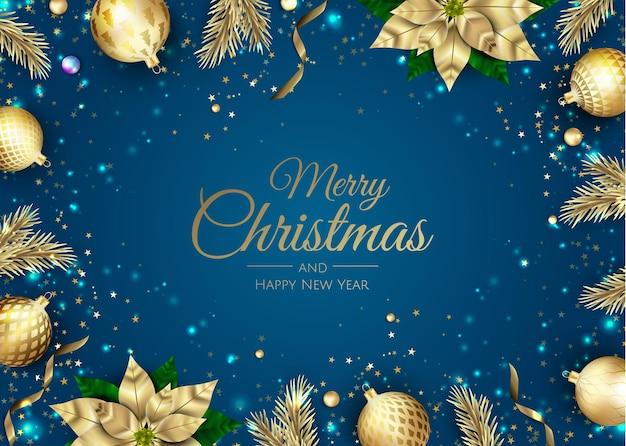 Vrolijk kerstfeest en een gelukkig nieuwjaar. xmas achtergrond met poinsettia, sneeuwvlokken, ster en ballen ontwerp. wenskaart, vakantiebanner, webposter