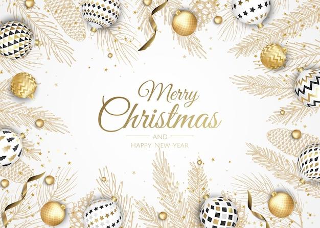 Vrolijk kerstfeest en een gelukkig nieuwjaar. xmas achtergrond met poinsettia, sneeuwvlokken, ster en ballen. wenskaart, vakantiebanner, webposter