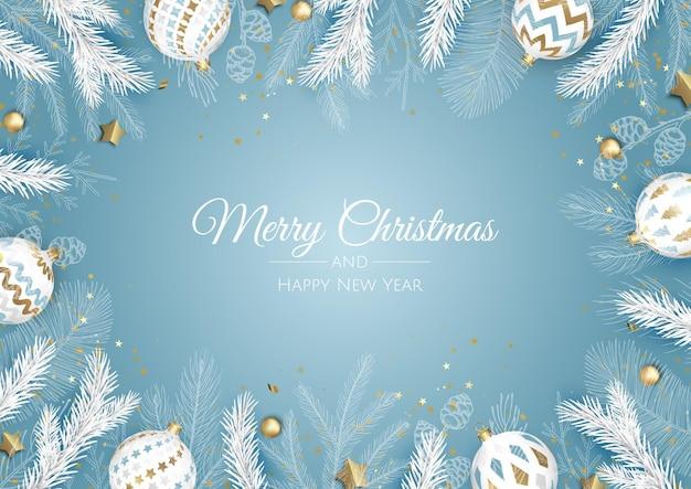 Vrolijk kerstfeest en een gelukkig nieuwjaar. xmas achtergrond met sneeuwvlokken en ballen ontwerp.