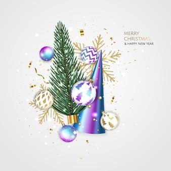 Vrolijk kerstfeest en een gelukkig nieuwjaar. xmas feestelijke achtergrond met realistische 3d-objecten, blauwe en gouden ballen, conische kerstboom. levitatie vallende ontwerpsamenstelling.