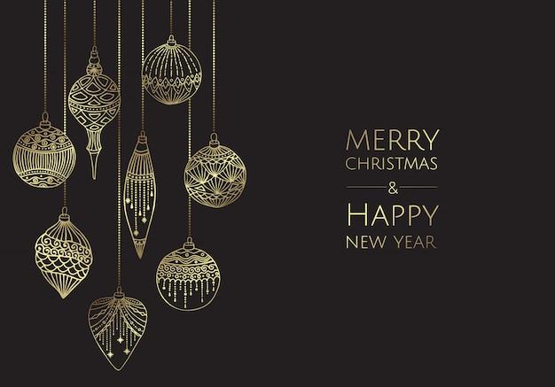 Vrolijk kerstfeest en een gelukkig nieuwjaar. xmas wenskaart met ballen.