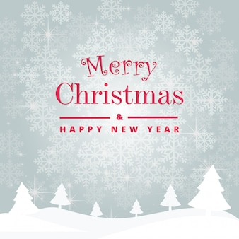 Vrolijk kerstfeest en een gelukkig nieuwjaarsdek met prachtige sneeuwvlokken. vector sjabloon backgr