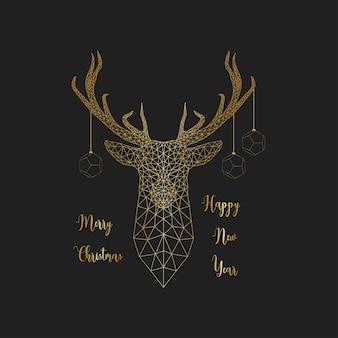 Vrolijk kerstfeest en een gelukkig nieuwjaarskaart