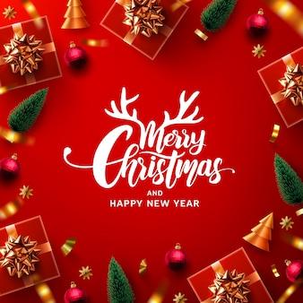 Vrolijk kerstfeest en een gelukkig nieuwjaarspromotie-poster