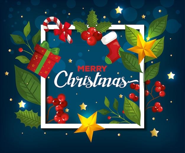 Vrolijk kerstfeest en frame met decoratiekaart