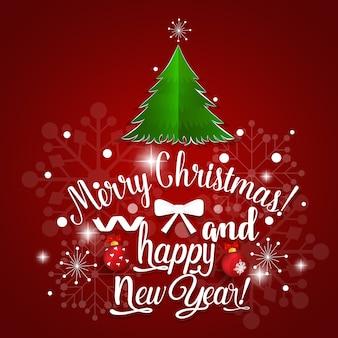 Vrolijk kerstfeest en gelukkig nieuwjaar belettering