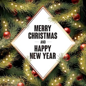 Vrolijk kerstfeest en gelukkig nieuwjaar geschreven in een witte diamant
