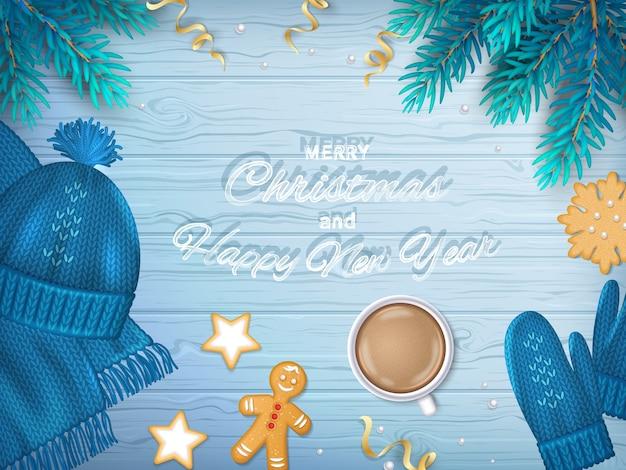Vrolijk kerstfeest en gelukkig nieuwjaar groet achtergrond winter elementen fir takken, muts, sjaal, wanten