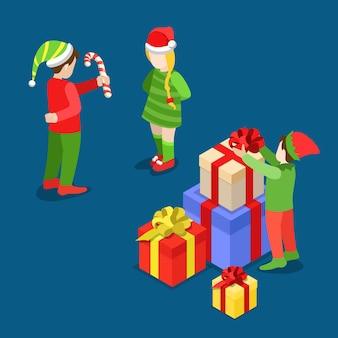 Vrolijk kerstfeest en gelukkig nieuwjaar plat isometrie isometrisch concept web folder flyer kaart briefkaartsjabloon grote geschenkdozen trol kostuum jongen meisje zuurstok creatieve wintervakantie collectie