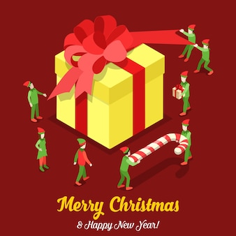 Vrolijk kerstfeest en gelukkig nieuwjaar platte isometrie isometrisch concept web infographics folder flyer kaart briefkaartsjabloon enorme geschenkdoos en trollen creatieve wintervakantie collectie