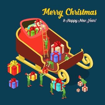 Vrolijk kerstfeest en gelukkig nieuwjaar platte isometrie isometrisch concept web infographics folder flyer kaart briefkaartsjabloon enorme kerstman sleeën cadeau en trollen creatieve wintervakantie collectie