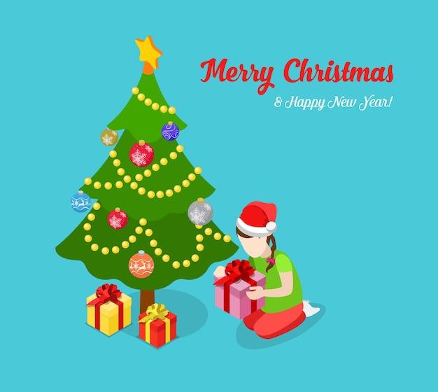 Vrolijk kerstfeest en gelukkig nieuwjaar platte isometrie isometrisch concept web infographics folder flyer kaart briefkaartsjabloon sparrenboom meisje uitpakken cadeau creatieve wintervakantie collectie