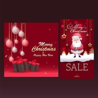 Vrolijk kerstfeest en gelukkig nieuwjaar poster en sjabloonontwerp voor reclame