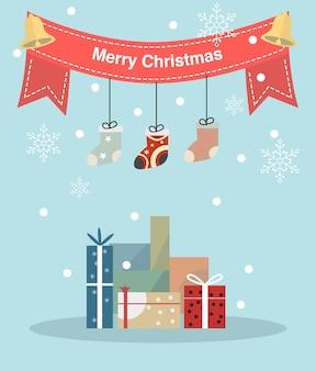 Vrolijk kerstfeest en gelukkig nieuwjaar wenskaart