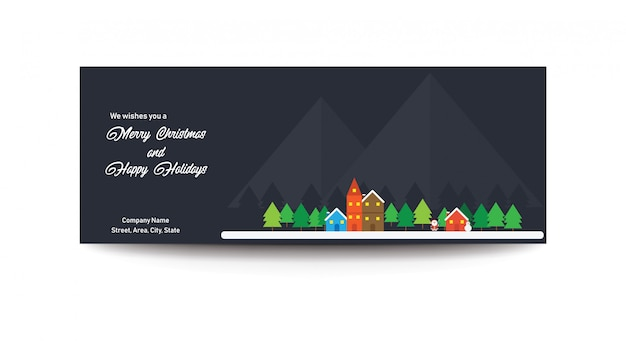 Vrolijk kerstfeest en happy holidays facebook advertentiebanner coverfoto