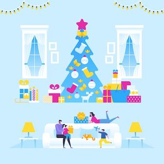 Vrolijk kerstfeest en nieuwjaar. de familie die geschenken opent.