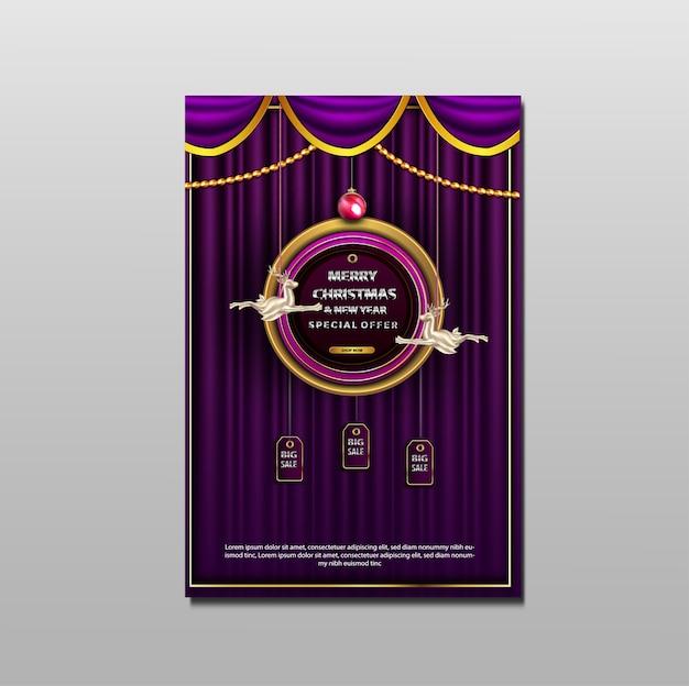 Vrolijk kerstfeest en nieuwjaar promotie verkoop flyer