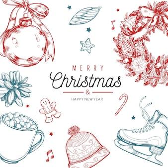 Vrolijk kerstfeest en nieuwjaar vintage kaart ontwerp