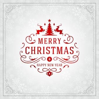 Vrolijk kerstfeest en nieuwjaar wenskaart ontwerp en licht met sneeuwvlokken