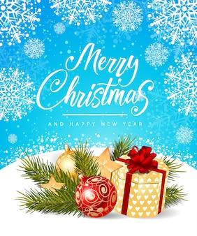 Vrolijk kerstfeest en nieuwjaars inscriptie