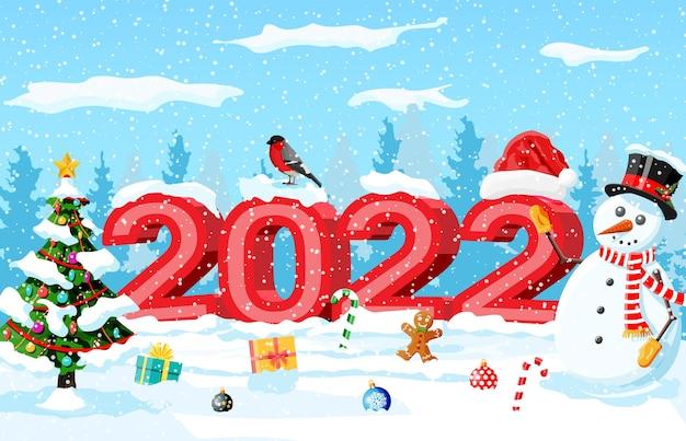 Vrolijk kerstfeest en nieuwjaarswenskaart