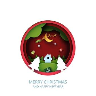 Vrolijk kerstfeest en winterseizoen landschap op rode achtergrond, rode cirkel versierd met geschenkdoos en kerstman in slee papier art