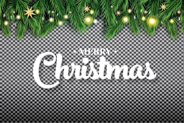 Vrolijk kerstfeest. fir branch met neonlichten en sterren op transparante achtergrond. vectorillustratie.