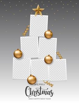 Vrolijk kerstfeest fotolijst boom. gelukkig nieuwjaar kerstboom.