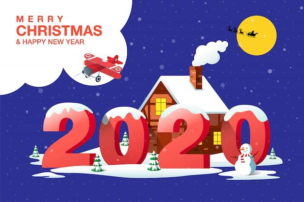 Vrolijk kerstfeest, gelukkig nieuwjaar 2020, woonplaats, nacht, winterlandschap