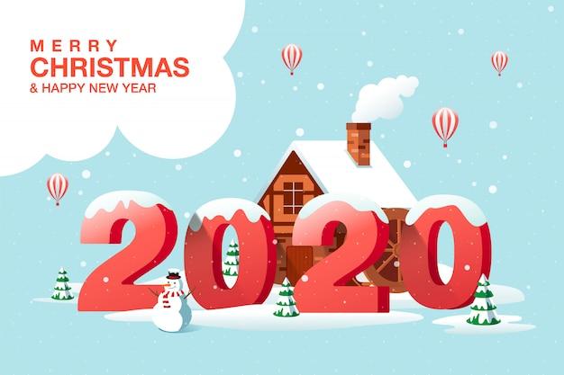 Vrolijk kerstfeest, gelukkig nieuwjaar 2020, woonplaats, winter