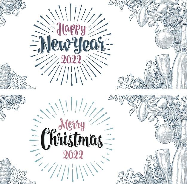 Vrolijk kerstfeest gelukkig nieuwjaar belettering en raket sneeuwvlok dennenappel kaars speelgoed gravure