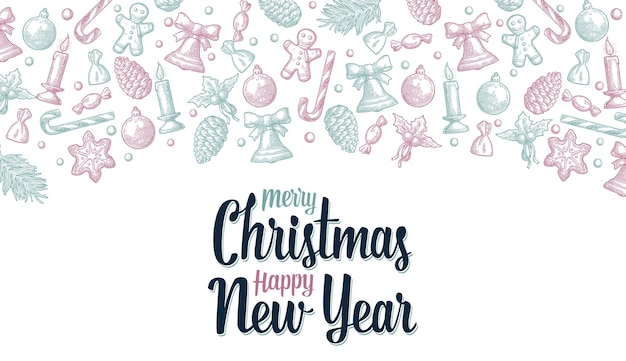 Vrolijk kerstfeest gelukkig nieuwjaar belettering gingerbread man kegel snoep maretak kaars gravure